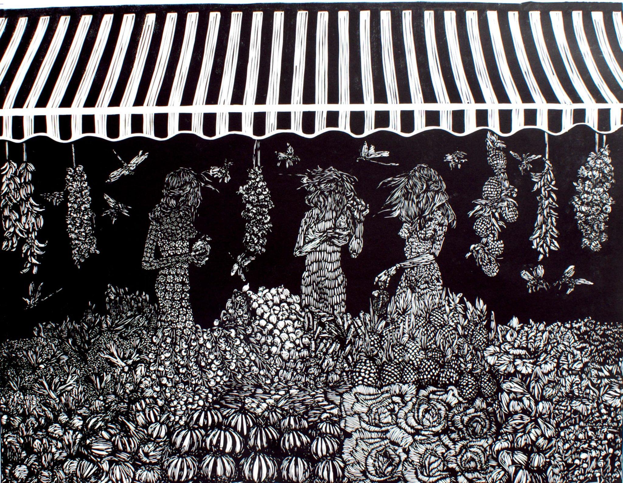 Linoryt Gracje na targu o wymiarach 100x70 cm