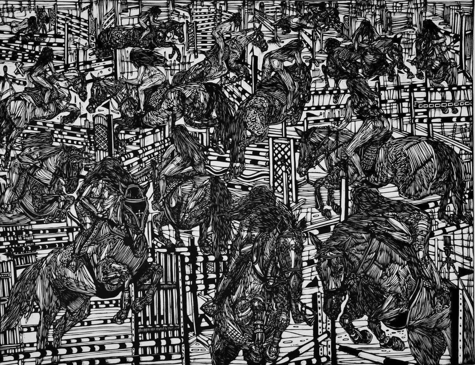 Linoryt Gracje na koniach o wymiarach 100x70 cm