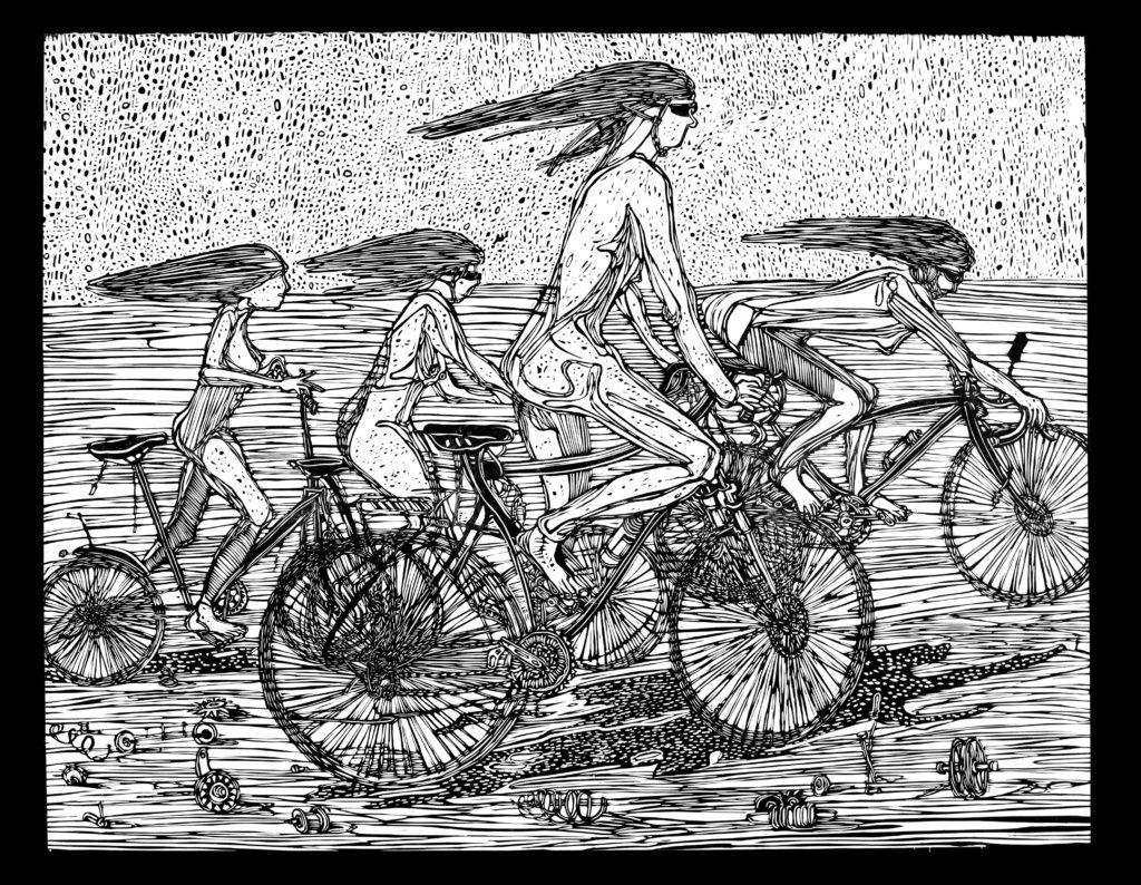 Linoryt Gracje na rowerach o wymiarach 100x70 cm