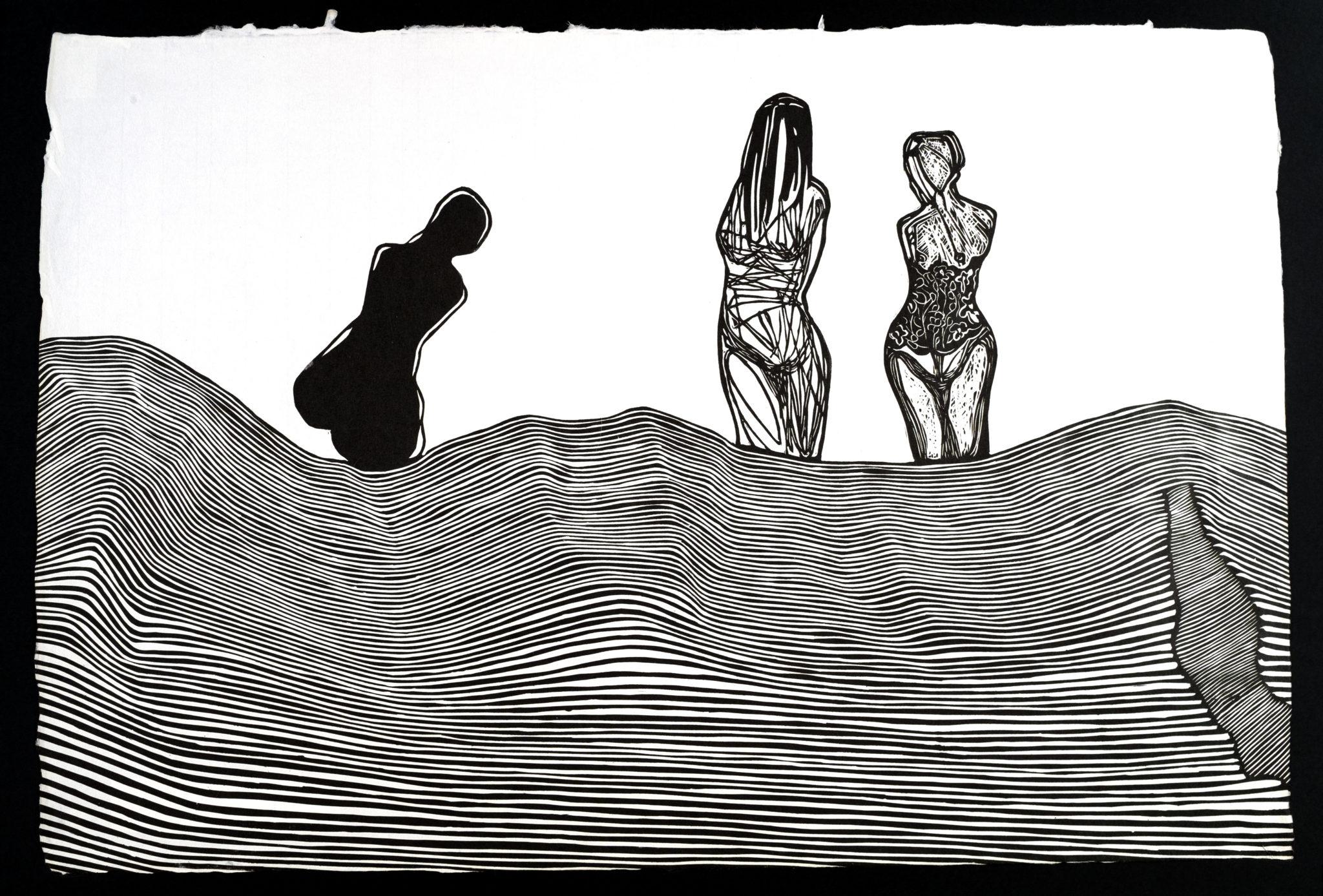 Linoryt Gracje nad morzem o wymiarach 100x70 cm
