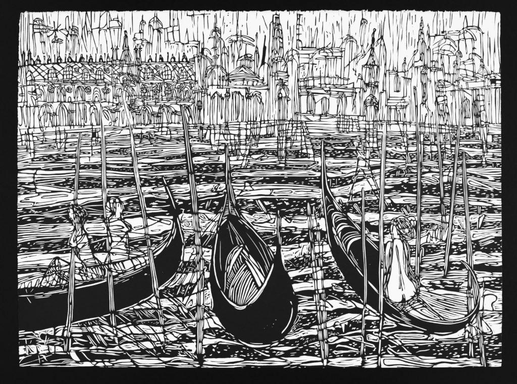 Linoryt Gracje w Wenecji o wymiarach 100x70 cm