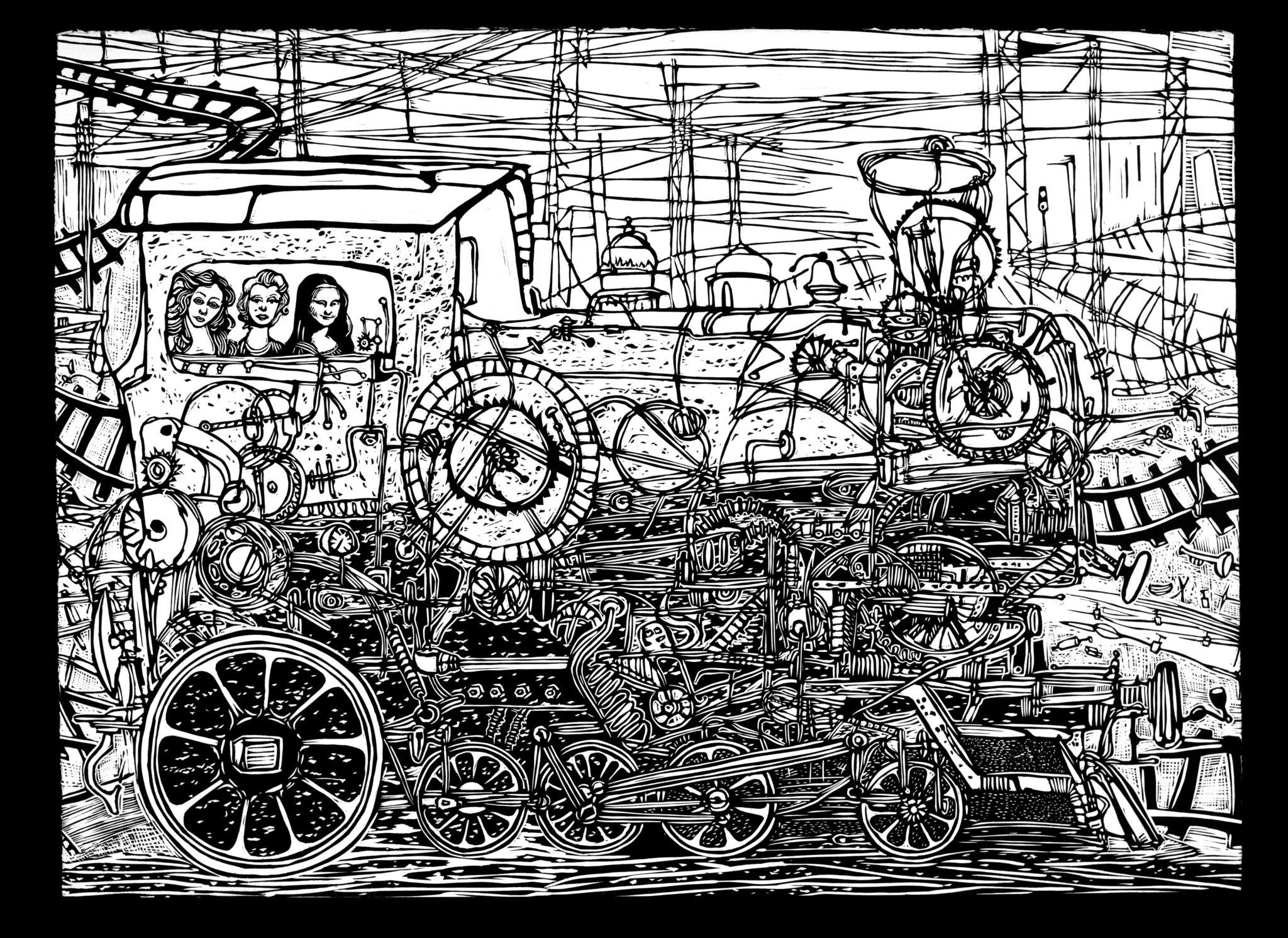 Linoryt Gracje w pociągu o wymiarach 100x70 cm