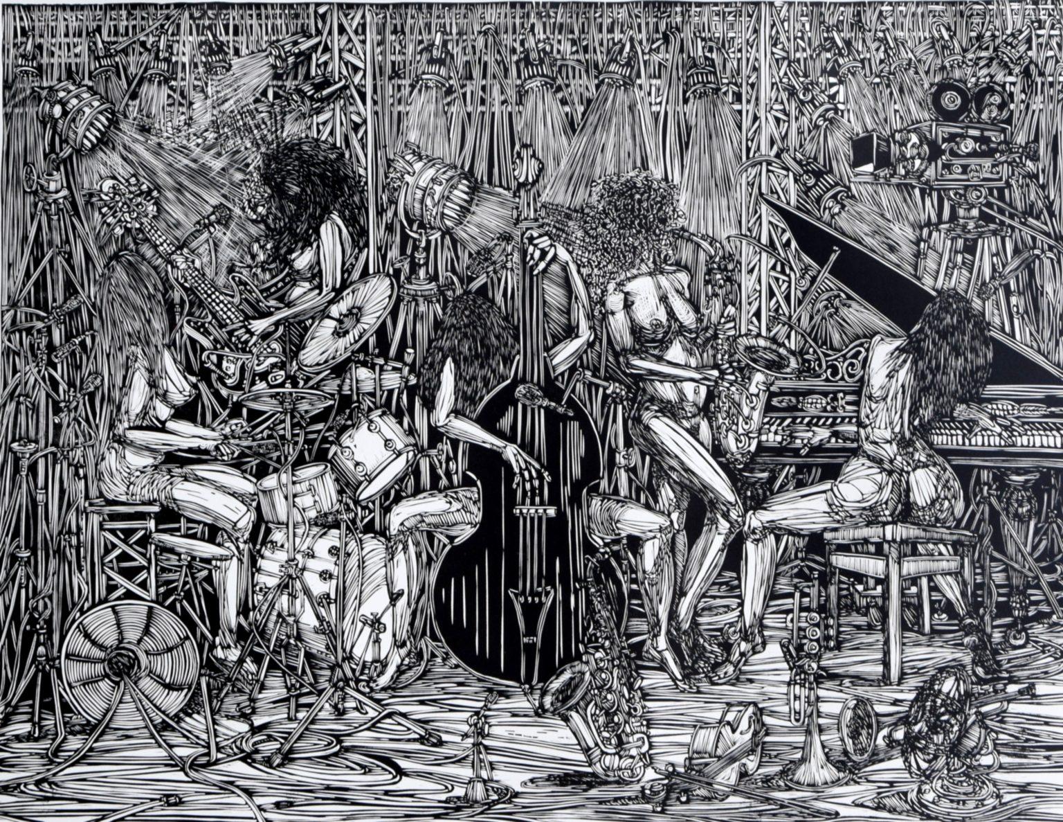 Linoryt Jazz Gracje o wymiarach 100x70 cm
