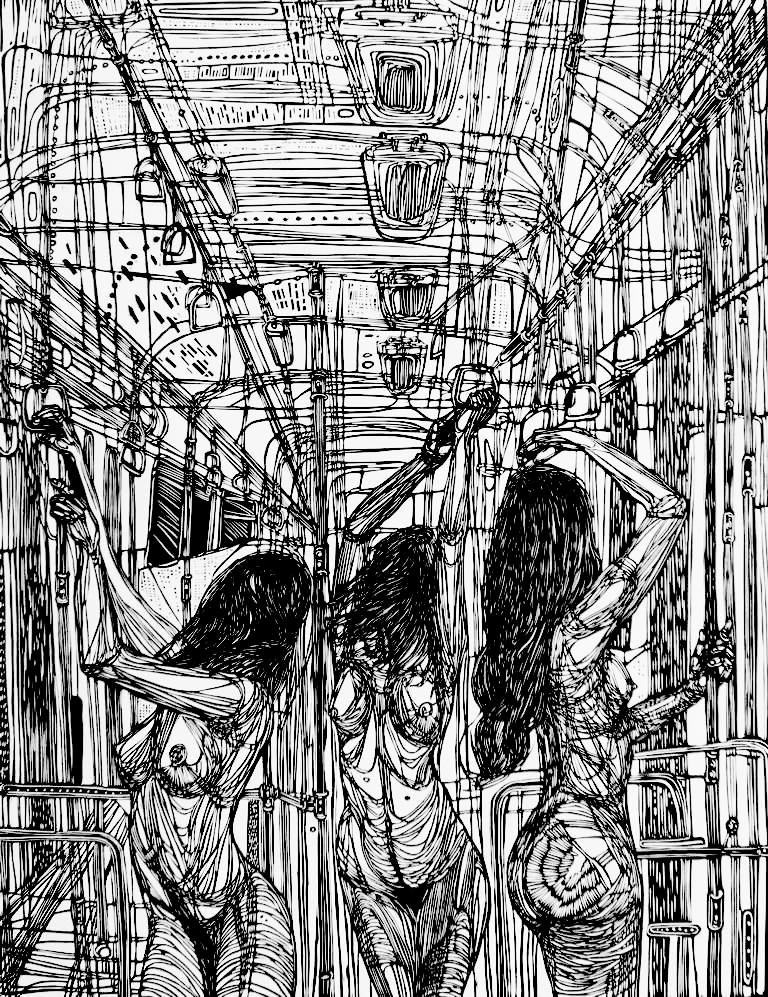 Linoryt Gracje w tramwaju o wymiarach 100x70 cm