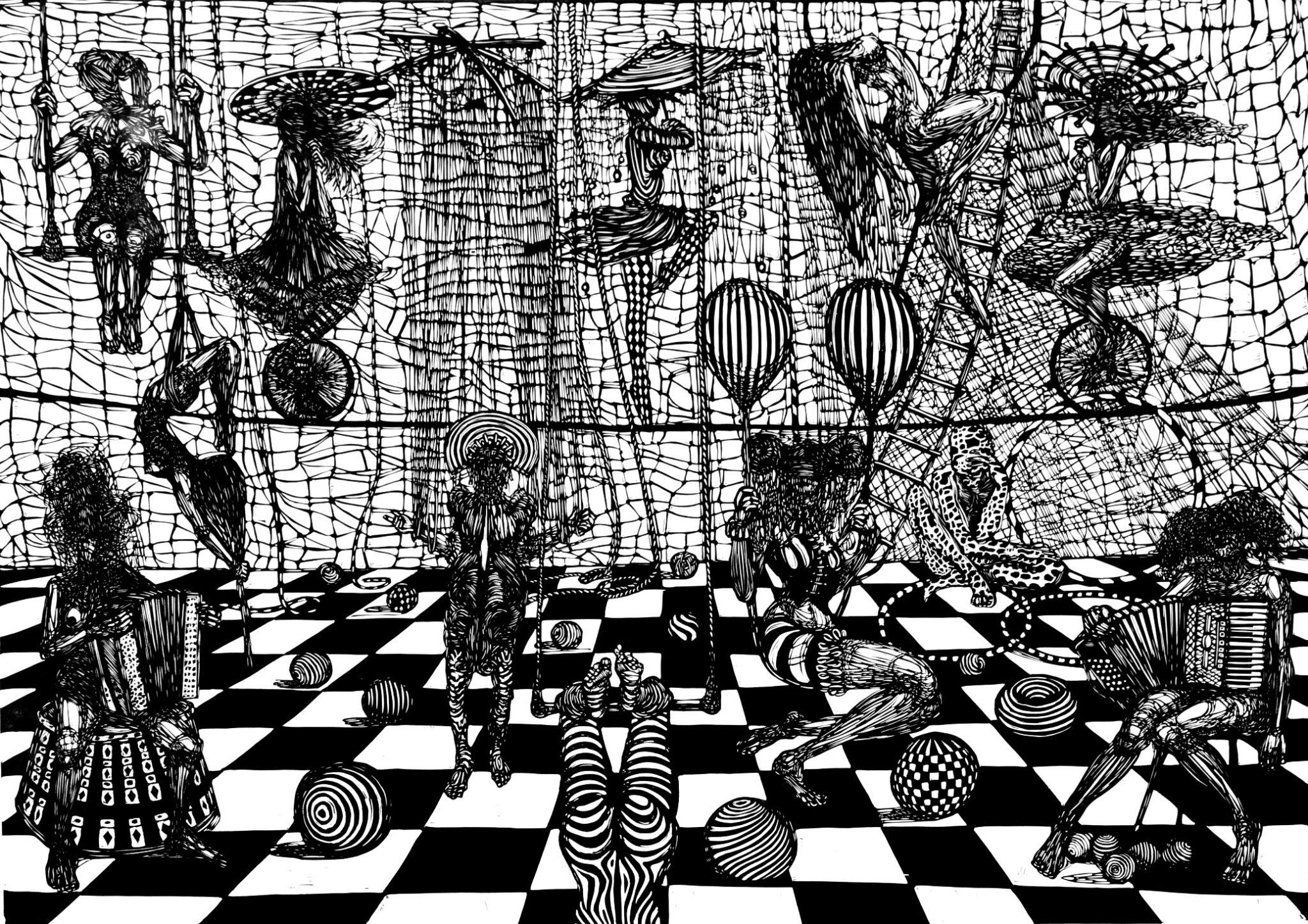 Linoryt Gracje w cyrku o wymiarach 100x70 cm