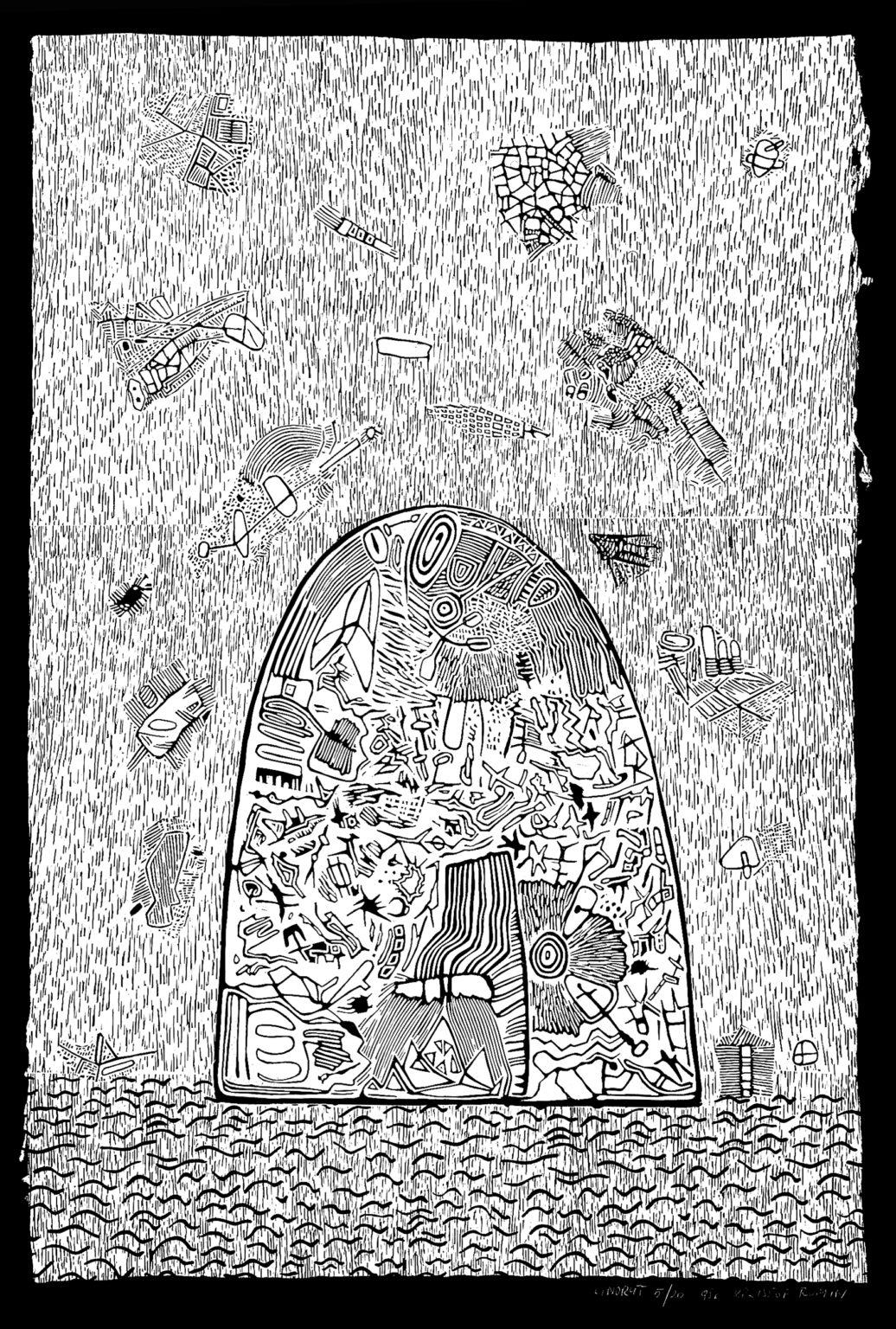Linoryt Pejzaż 5 o wymiarach 100x70