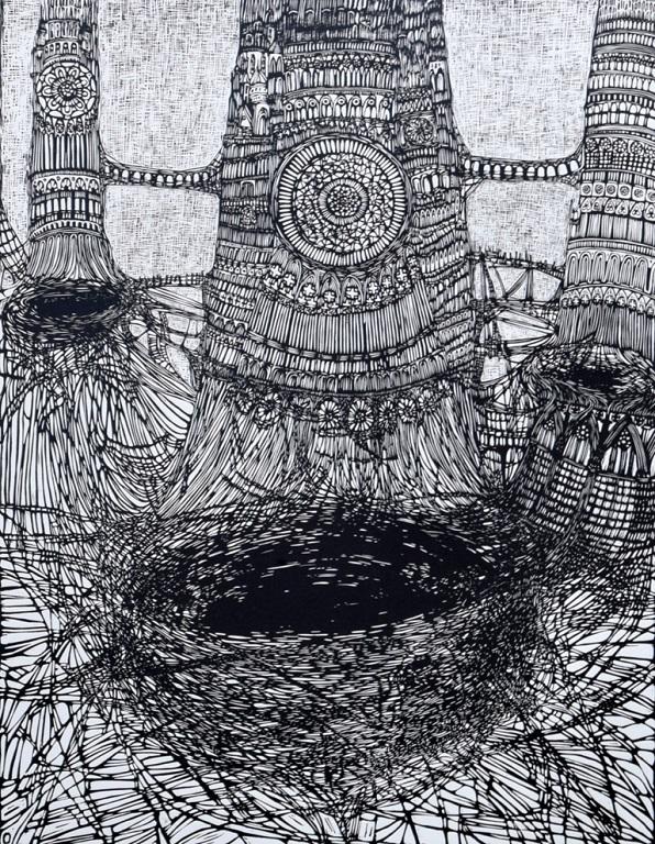 Linoryt Trzy wieże o wymiarach 100x70 cm